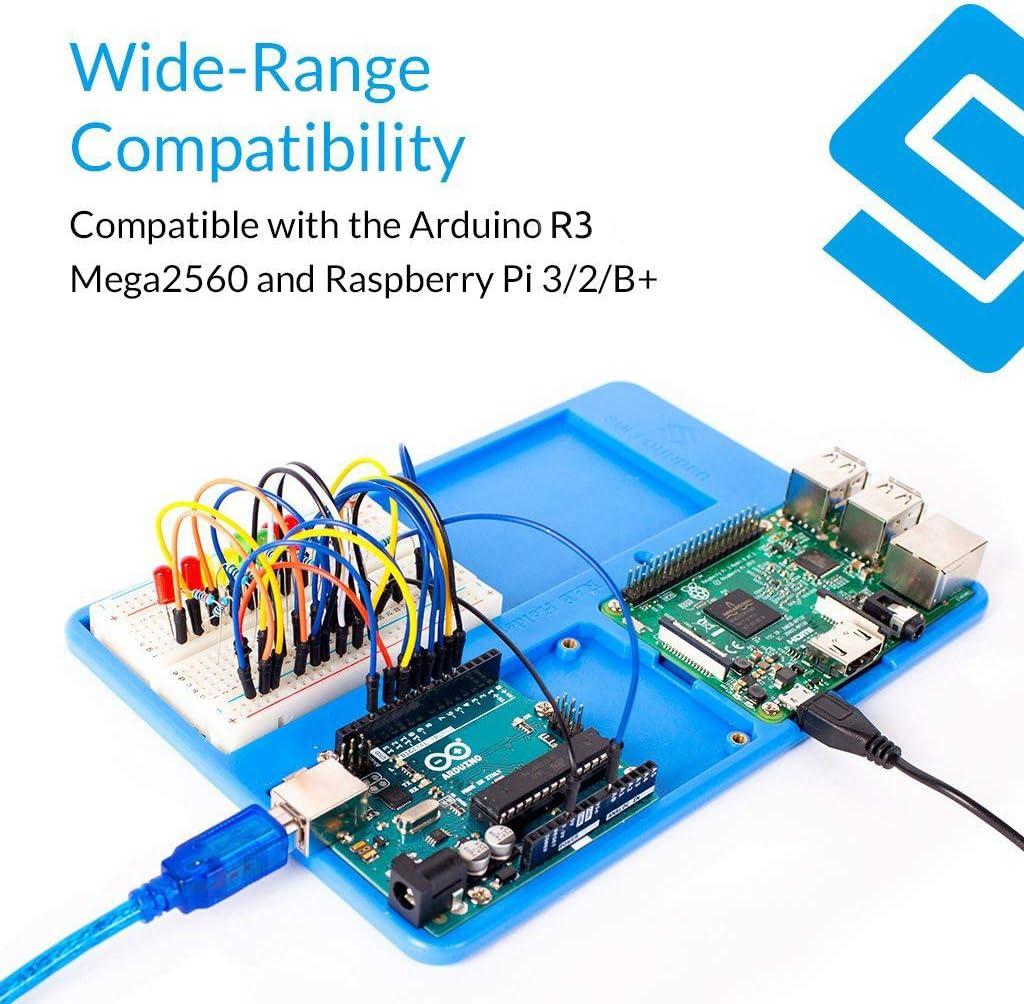 SunFounder RAB 5 in 1 Breadboard Holder Base Plate Circuit Board Screws for Arduino R3 Mega 2560, Raspberry Pi 3 Model B,2 Model B and 1 Model B+ 400 800 Points Breadboard Jumper Dupont Wires