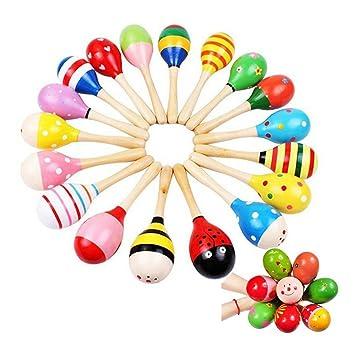 pixnor maracas sonajero coctelera musical juguetes de madera para nios pcs patrn de color