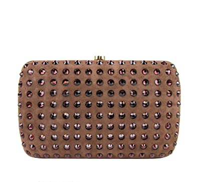 6e90cac1ea9c Amazon.com: Gucci Women's Brown Suede Broadway Crystal Evening Clutch Bag  310005 5471: Shoes