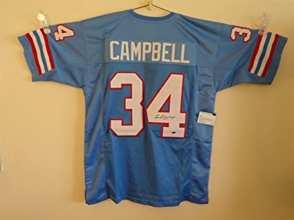 finest selection e5870 11204 EARL CAMPBELL SIGNED AUTO HOUSTON OILERS LIGHT BLUE JERSEY ...