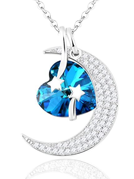 9971c4c935c ❤️ I Love you to the Moon and Back ❤️ Pendant Necklace Moon Heart Sterling  Silver Swarovski Jewelry for Women Birthday Anniversary Gifts