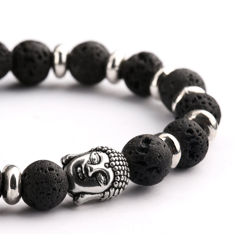 Bead Bracelets,UHIBROS Unisex Natural Tiger Eyes, Black Matte, Weathering Agate Beads Stretch Bracelets With Leopard Head Gold,Silver (Beads Black)