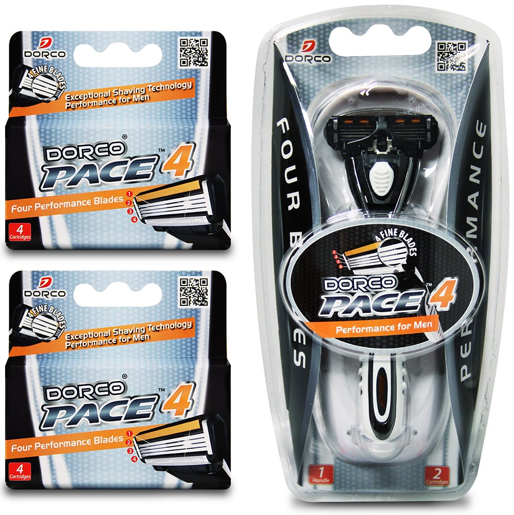Dorco Pace 4- Four Blade Razor Shaving System- Value Pack (10 Cartridges + 1 Handle)