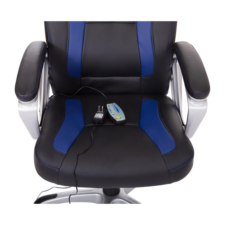 HomCom Race Car Style PU Leather Heated Massaging Office Chair - Blue