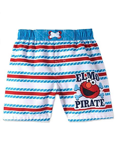d7b5733131 Amazon.com: Sesame Street Elmo Infant Baby Boys' Swim Trunks, White ...
