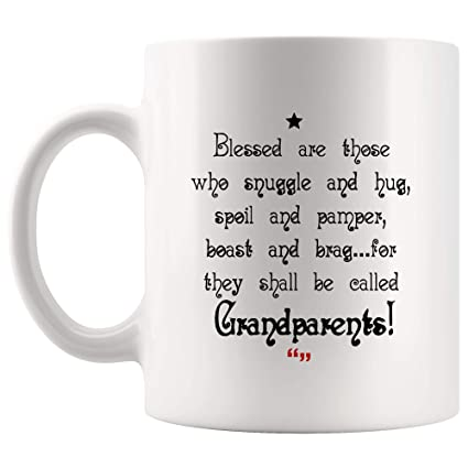 cb91ce926 Blessed Grandparents Mom Dad Mug - Gift for Best Mother Father from Son  Daughter Cup -