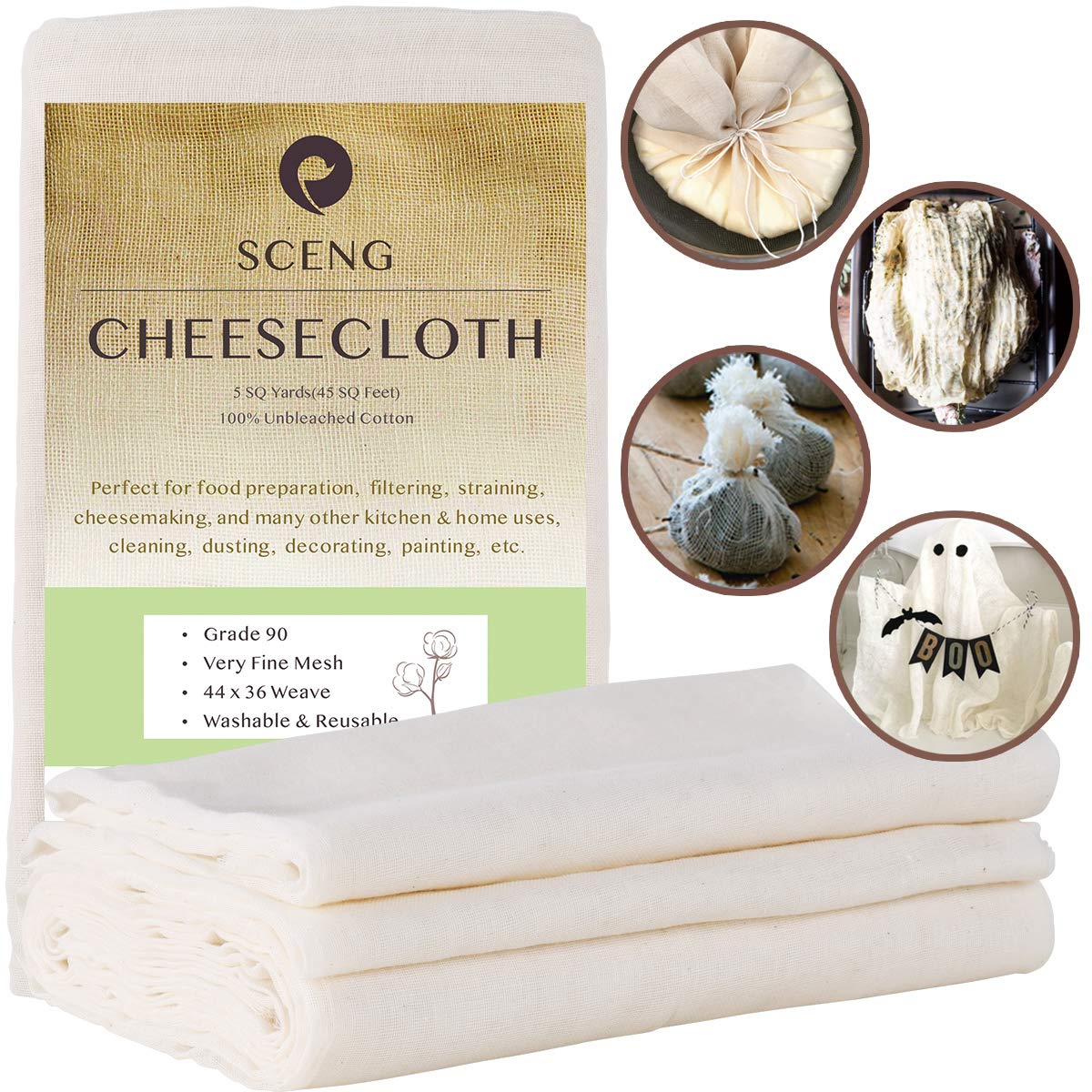 Cheesecloth, Grade 90, 45 Sq Feet, Reusable, 100% Unbleached Cotton Fabric, Ultra Fine Cheesecloth for Cooking - Nut Milk Bag, Strainer, Filter (Grade 90-5Yards) by S.CENG