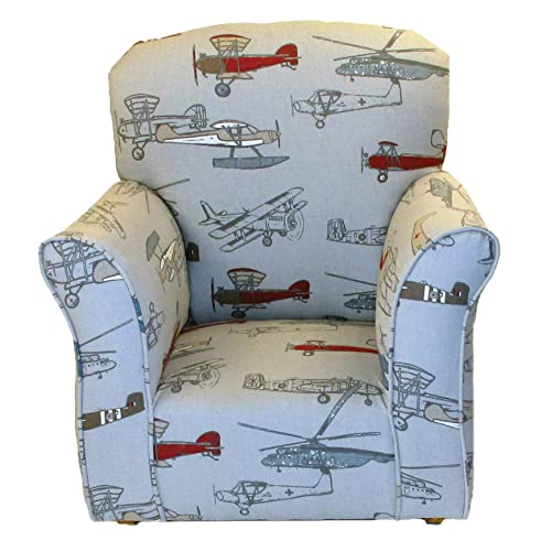 Brighton Home Furniture Child Rocker, Airplaine Printed Cotton, 3330-81
