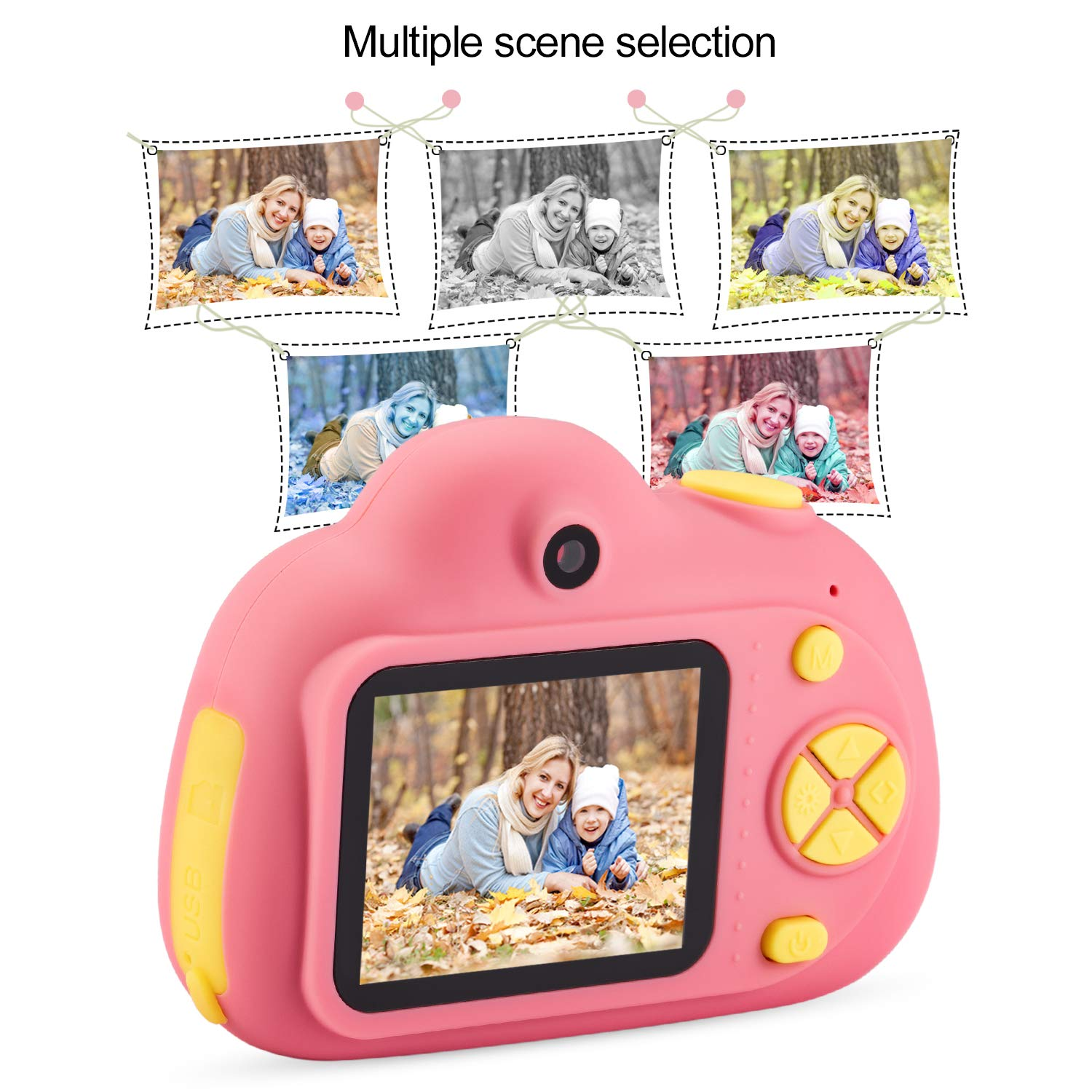 omzer Gift Kids Camera Toys for Girls, Cute Children Cameras Mini Camcorder for 3-8 Years Old Girl with 8MP HD Video Lens Great for Shooting, Deep Pink(16GB Memory Card Included) by omzer (Image #5)