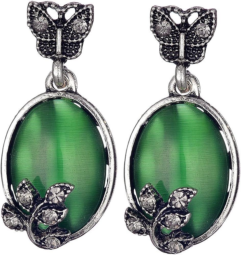 Prosperveil - Pendientes de ópalo verde grande, piedra natural, diseño retro, decoración de hojas de mariposa