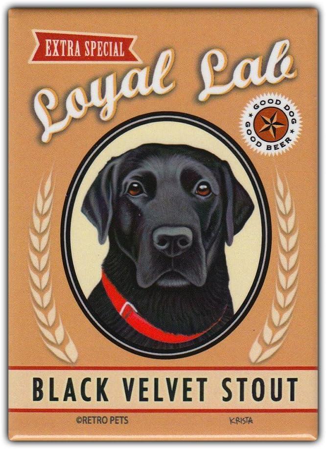 "Retro Pets Refrigerator Magnet - Loyal Lab Black Velvet Stout (Beer), Black Lab (Labrador Retriever) - Vintage Advertising Art - 2.5"" x 3.5"""
