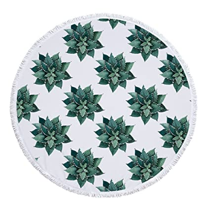Cotangle Toalla de Playa Redonda de Microfibra, Suave y Seca, de Microfibra Verde,
