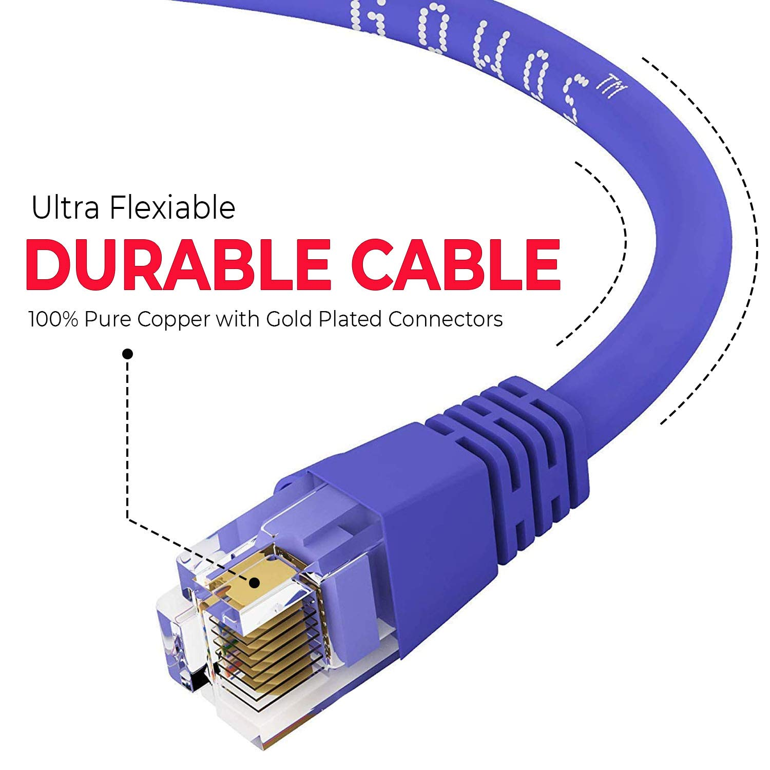 1Gigabit//Sec High Speed LAN Internet//Patch Cable Blue GOWOS Cat5e Ethernet Cable 50-Pack - 9 Feet 350MHz 24AWG Network Cable with Gold Plated RJ45 Snagless//Molded//Booted Connector