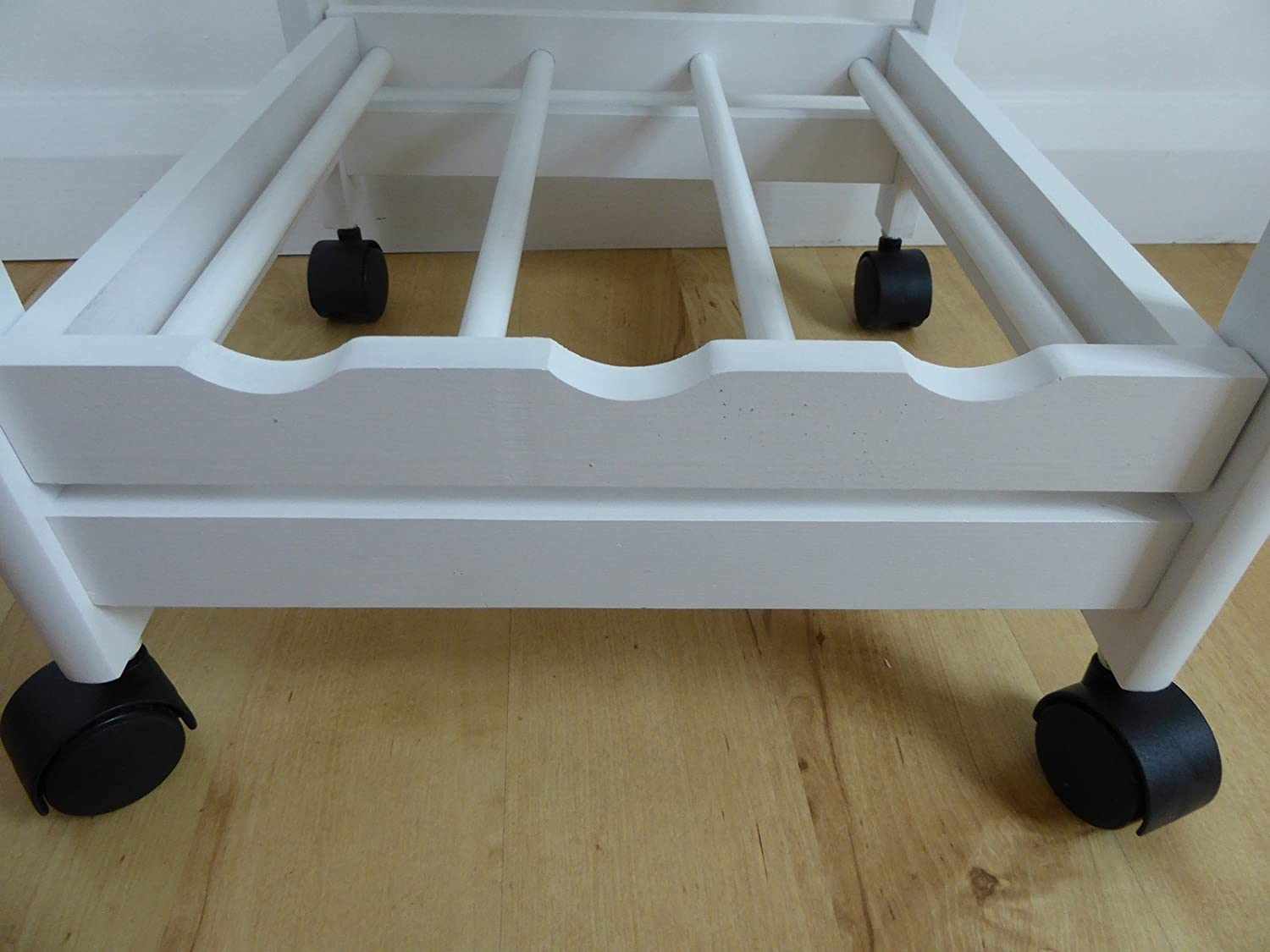 White Kitchen Trolley Table With Wheels Drawer Wooden Shelves And ...