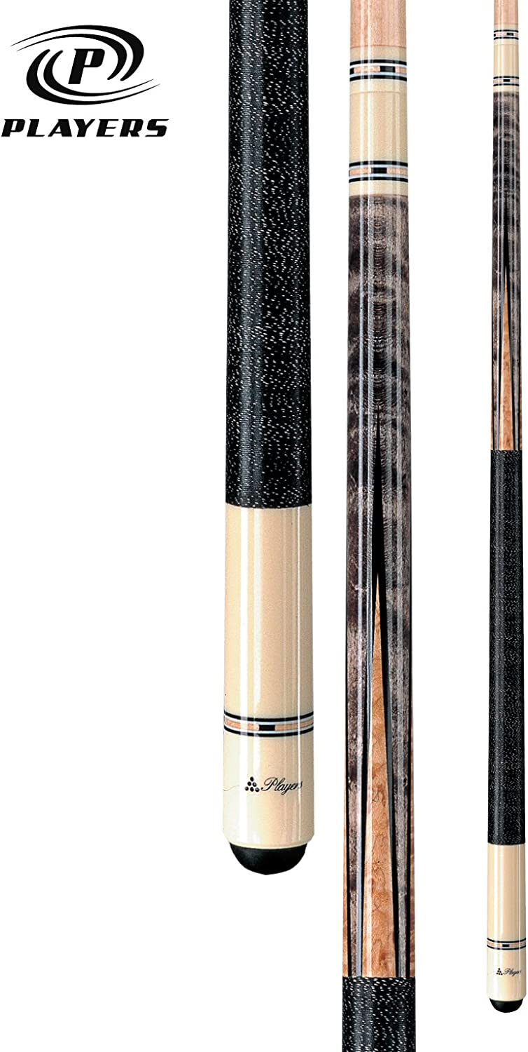 Players C-945 Classic Smoke Stained Birds-Eye Maple with Black Points and Cream Diamonds Cue