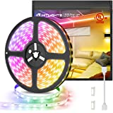 HitLights UL Listed LED Strip Lights, Premium High Density 16.4ft 5050 RGB 300LEDs, 12V for Room Under Kitchen Bedroom…