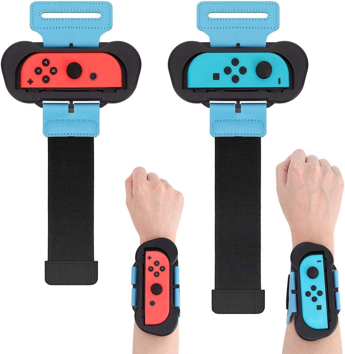 Muñequeras para Just Dance 2020 / 2019 Compatible con Nintendo Switch, 2 Piezas Correa de Muñeca Elástica Ajustable para Joy Con Controller, Dos Tamaños para Adultos y Niños