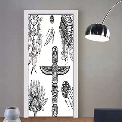 Gzhihine custom made 3d door stickers tribal decor tribal doodle set with mask of animal dream