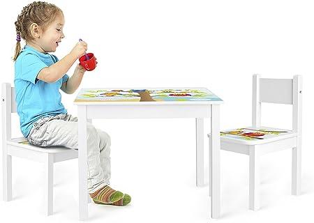 Pratique Table Carr/é En Bois Table et 2 chaises Enfant Chambre Enfant Meuble Enfant Mobilier Chaise dEnfant Baby Table Pour Enfants Petit Bureau Couleur Blanc