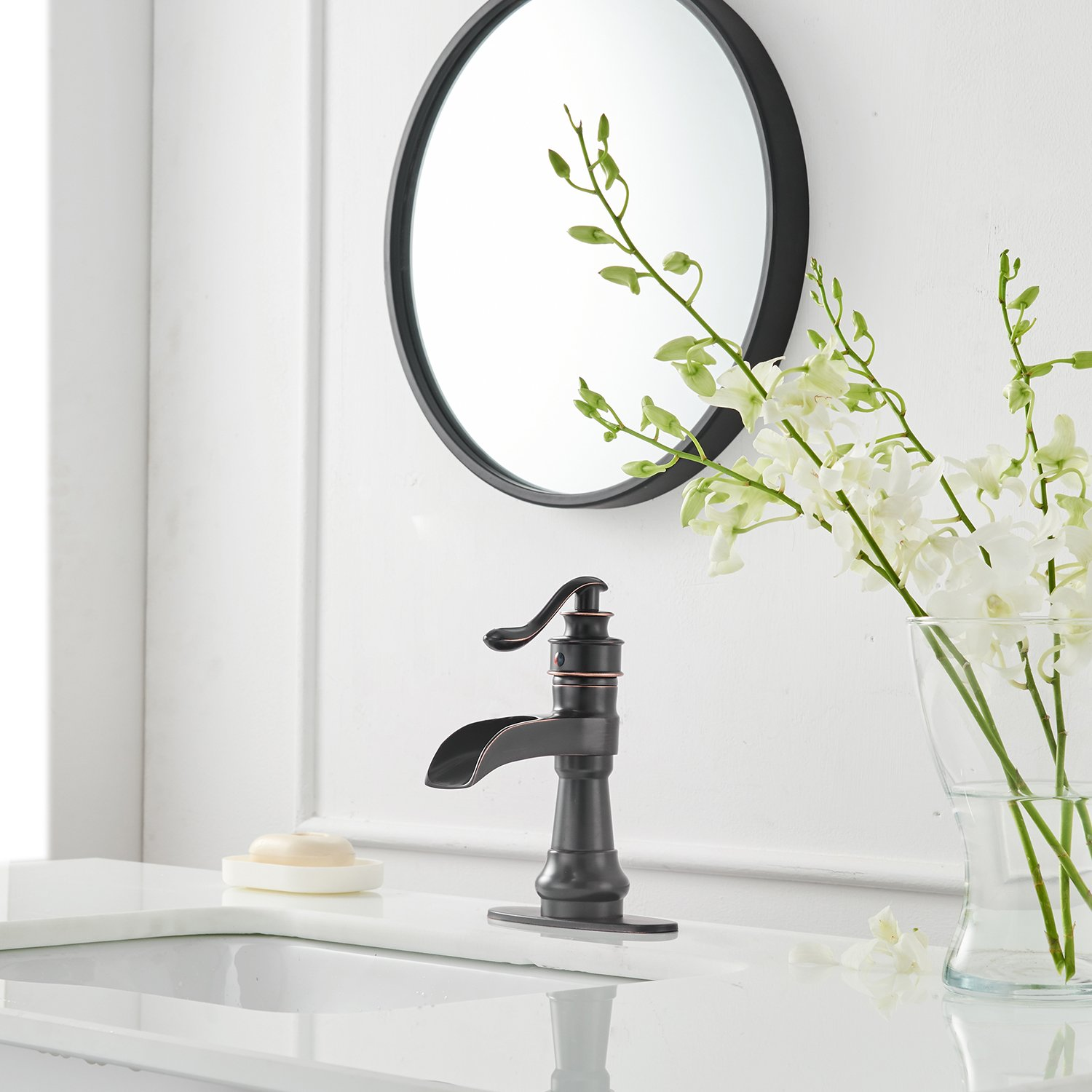 Greenspring Waterfall Spout Single Handle Lever Hole Commercial Bathroom Sink Vessel Faucet Tall Body,Brushed Nickel