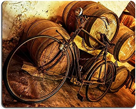 QDAS Alfombrilla de ratón Alfombrilla de Goma Natural Bicicleta Vieja oxidada en Bodega Apoyada contra barriles ID de Imagen: Amazon.es: Electrónica