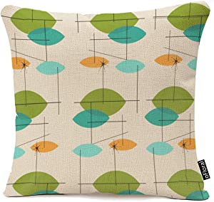 oFloral Throw Pillow Cover Orange Mid Retro Atomic Mobile Teal Century Decorative Pillow Case Home Decor Square 18 x 18 Inch Cotton Linen Pillowcase