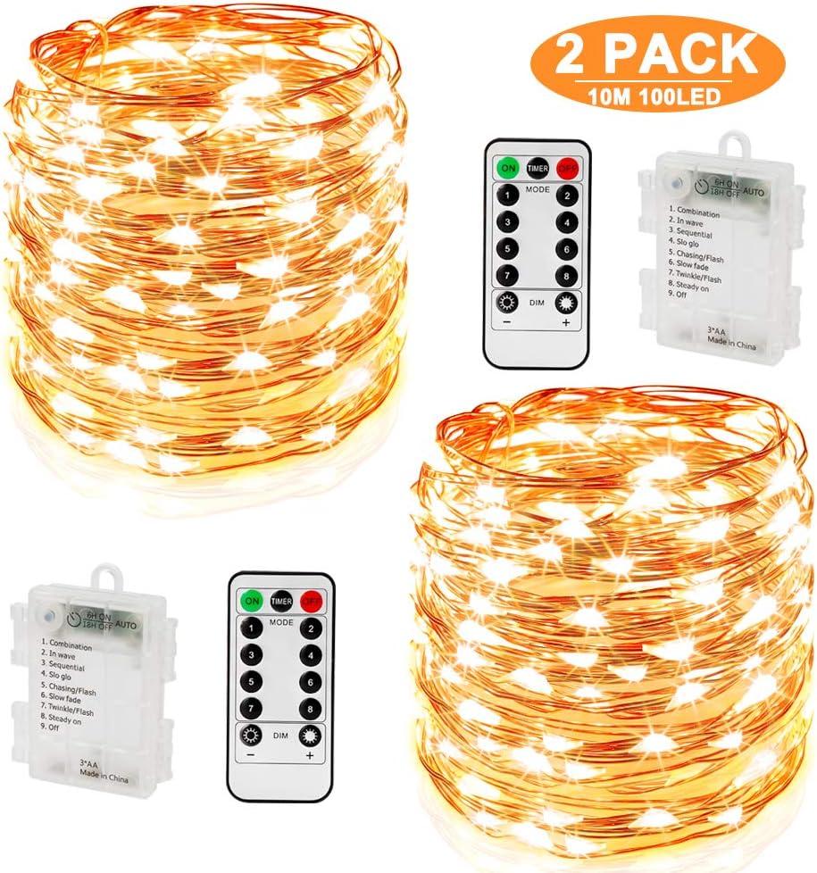 100 LED Lichterkette 4-farbig Kupferdraht Batterien 8 Funktionen Fernbedienung