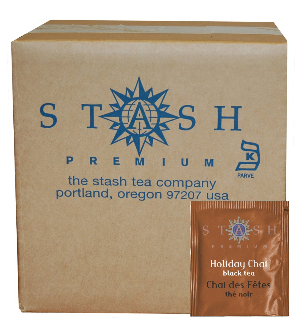 Stash Tea Holiday Chai Black Tea 100 Count Tea Bags in Foil (packaging may vary) Individual Spiced Black Tea Bags for Use in Teapots Mugs or Cups, Brew Hot Tea or Iced Tea by Stash