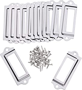Bluecell 20pcs Mini Silver Color Metal Office File Cabinet Shelves Drawer Name Card Label Holder Frames with Screws (Silver Color, 60 x 22mm)