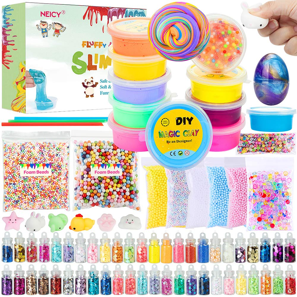 NEICY Slime Kit Slime Supplies, Fluffy Slime Crystal Slime, DIY Slime Making Kit for Girls Boys Kids, Includes Fluffy Clear Crystal Slime, Foam Beads, Egg Slime, Glitters, Cute Relief Toy