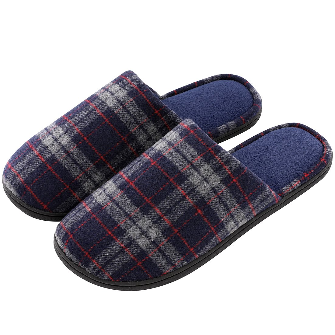 Men's Comfy Plaid Memory Foam Slippers Soft Fleece Lined House Shoes w/Non-Skid Rubber Sole