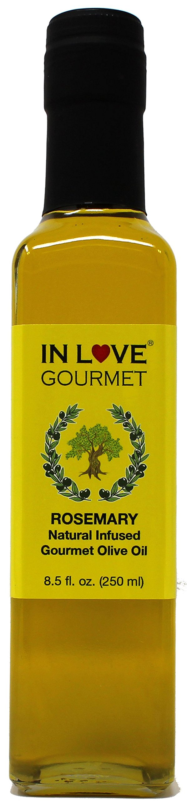In Love Gourmet Rosemary Natural Flavor Infused Olive Oil 250ML/8.5oz Great Tossed with Pasta, on Salads, on Lamb or Fish, as a Sandwich Spread, for Bread Dipping and in Marinades
