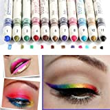 Beauty7 12 Pcs Professional Cosmetic Makeup Eyeliner Eye / Lip Liner Glitter Pencil Set