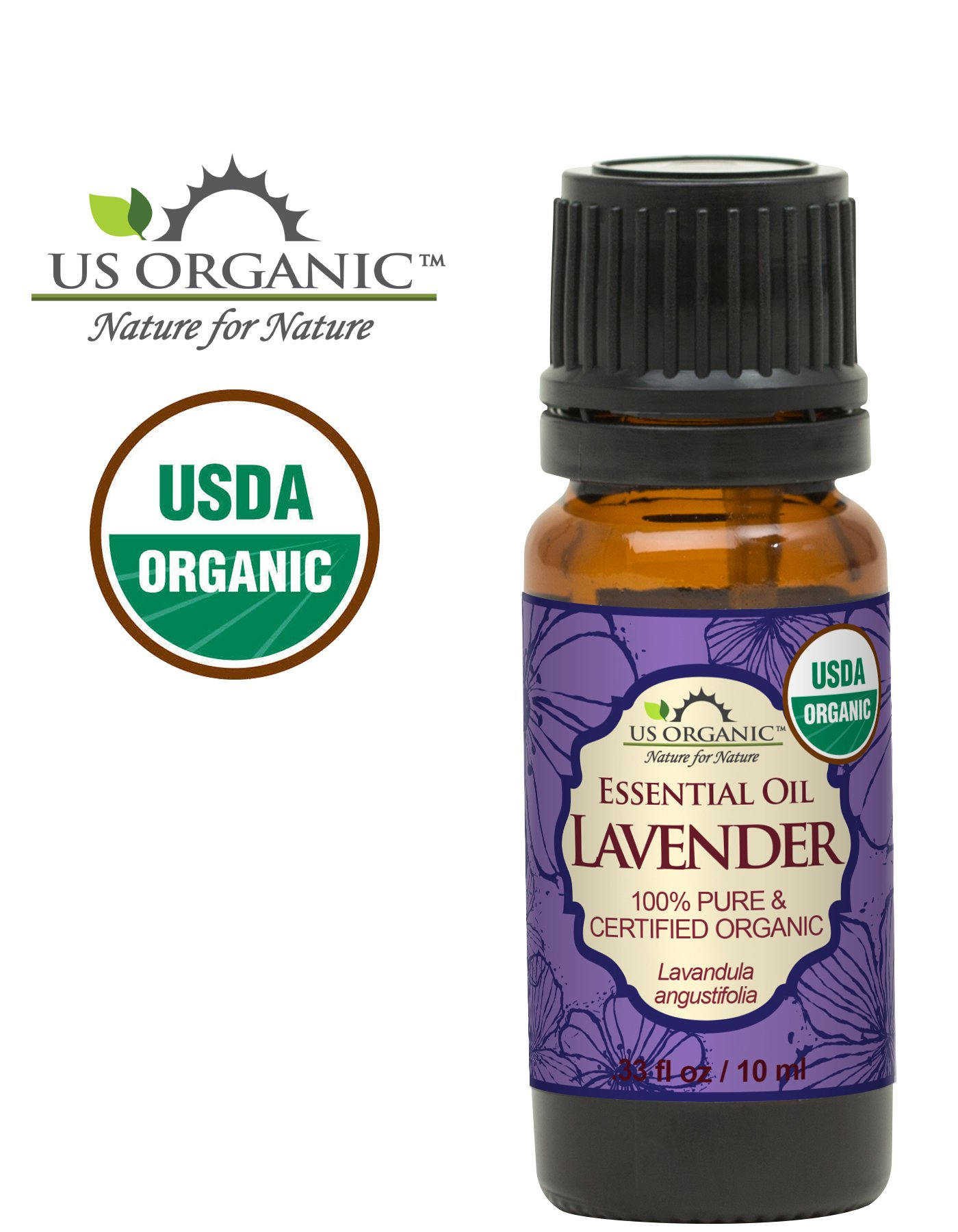 US Organic 100% Pure Lavender Essential Oil (Bulgarian) - USDA Certified Organic - 10 ml - w/Improved caps and droppers (More Size Variations Available)