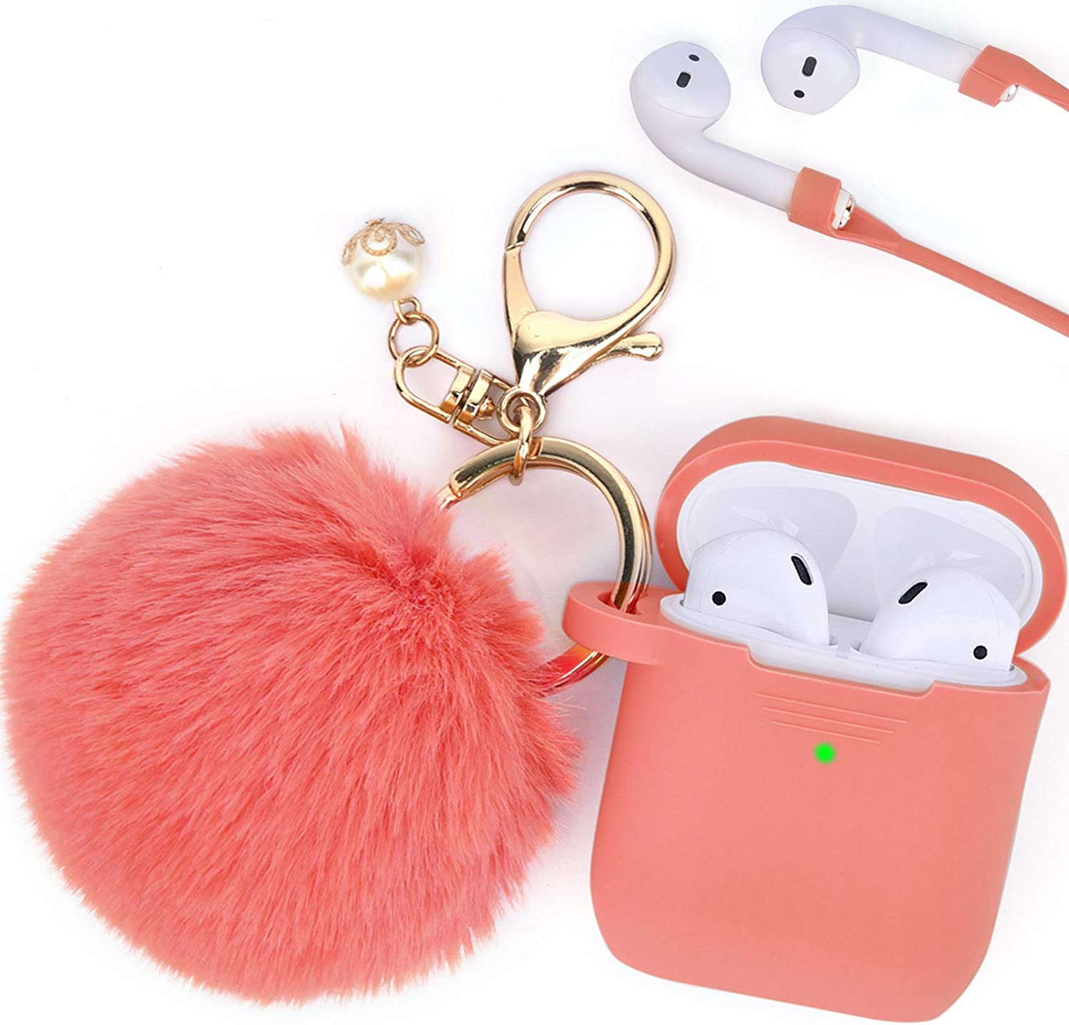 Filoto Case for Airpods , Airpod Case Cover for Apple Airpods 2&1 Charging Case, Cute Air Pods Silicone Protective Accessories Cases/Keychain/Pompom/Strap, Best Gift for Girls and Women, Living Coral