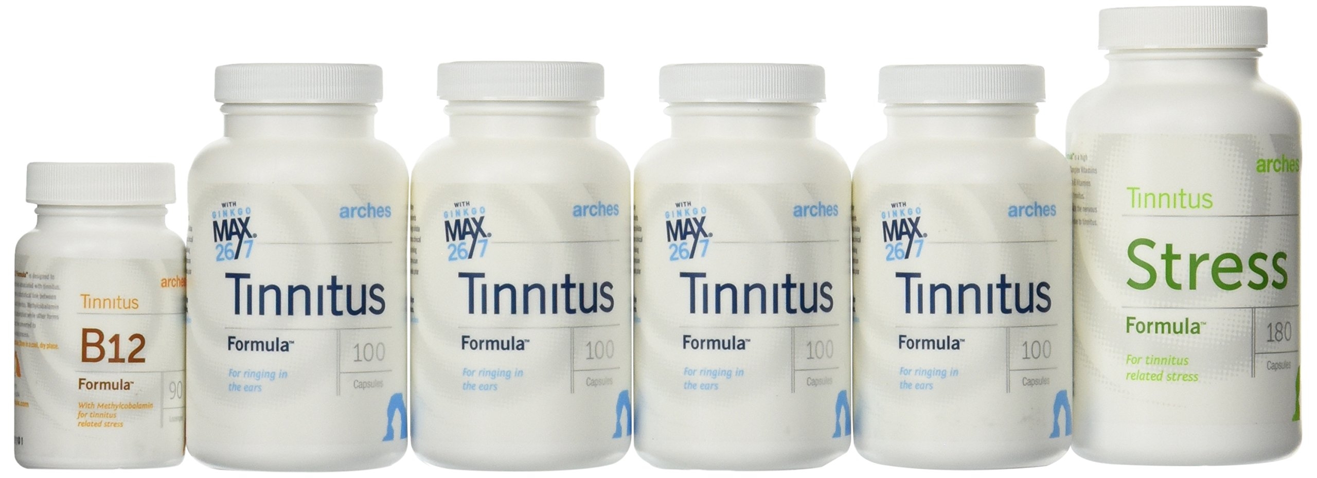 Arches Tinnitus Combo Pack - Now with Ginkgo Max 26/7 - Natural Tinnitus Treatment for Relief From Ringing Ears - 6 Bottles - 90 Day Supply by Arches Tinnitus Formulas (Image #2)