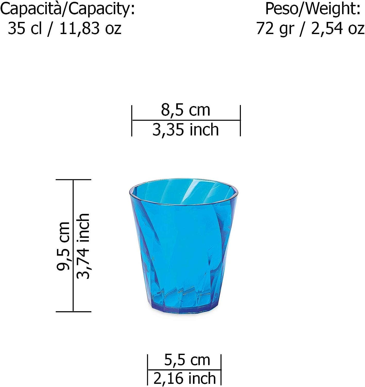 tr/ès r/ésistantes et lavables au lave-vaisselle Turquoise plastique de qualit/é optique et transparent Ligne Diamond Omada Design 4 Verres Eau 35 cl