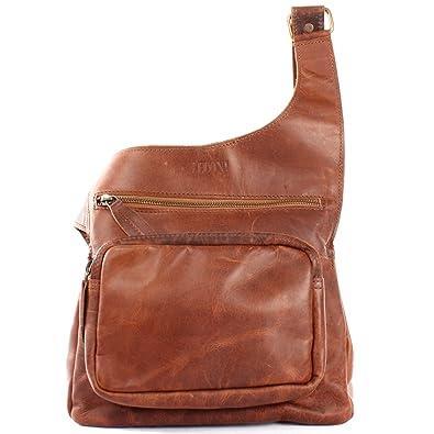kleine Umhängetasche aus Echtleder für Damen und Herren im Used Look Vintage-Style Rindsleder Natur praktische Ledertasche Crossbag Bodybag Leder 25x24x5cm braun LE3015-wax Leconi 7KE5AEx5m