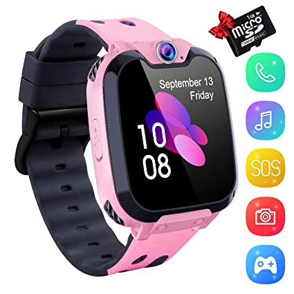 Smart Watch for Kids, Kids Smartwatch Music Player 1.54 inch HD Touchscreen, HD Camera SOS Anti-Lost, Android Phone Wristband Games Watches Digital ...