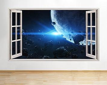 B008 Mond Space Erde Planeten Jungen Schlafzimmer Blau Wand Aufkleber 3D  Poster Kunst Aufkleber Kinder Schlafzimmer