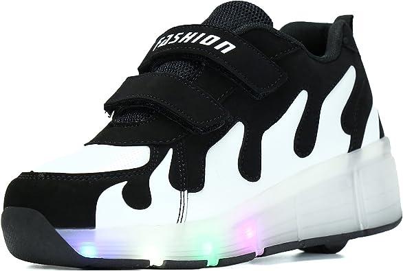 SGoodshoes Niños Zapatillas con Ruedas LED Sola Ronda Para Skate Zapatos Deportivas con Luces Niñas Zapatos con Ruedas Led Mujer, Negro blanco, 34EU: Amazon.es: Zapatos y complementos