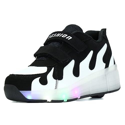 SGoodshoes Niños Zapatillas con Ruedas LED Sola Ronda Para Skate Zapatos Deportivas con Luces Niñas Zapatos con Ruedas Led Mujer, Negro blanco, ...