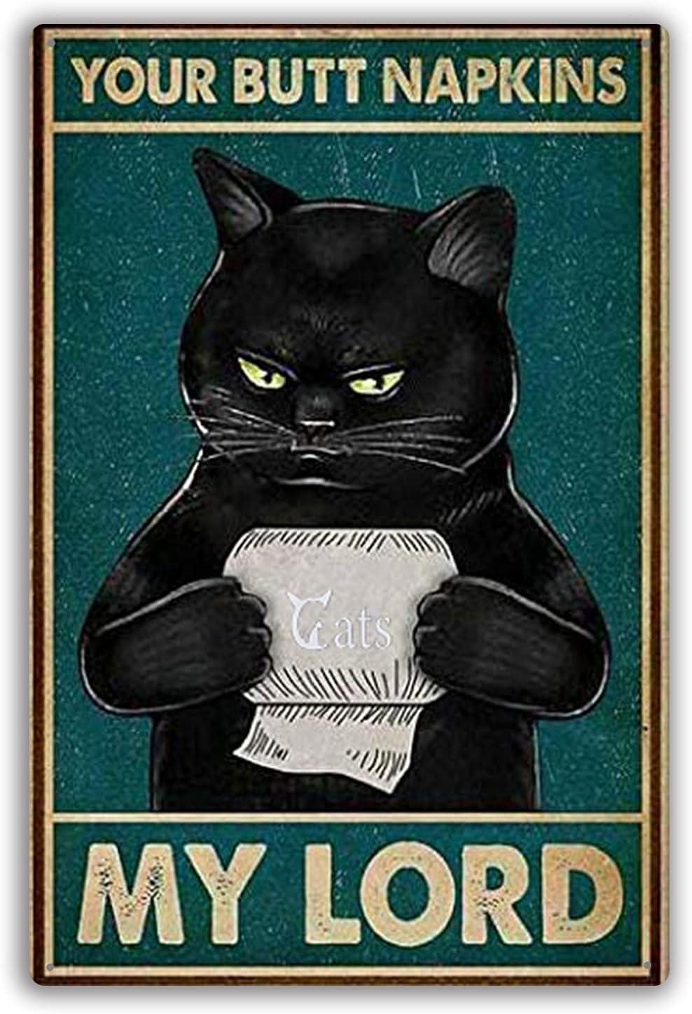 Funny Black Cat Tin Sign Cat Toilet Paper Metal Sign Wall Art Decor, Public Sign, Decoration Sign for Home Dorm Hotel Bathroom Idea Gifts for Women Men Friends 8
