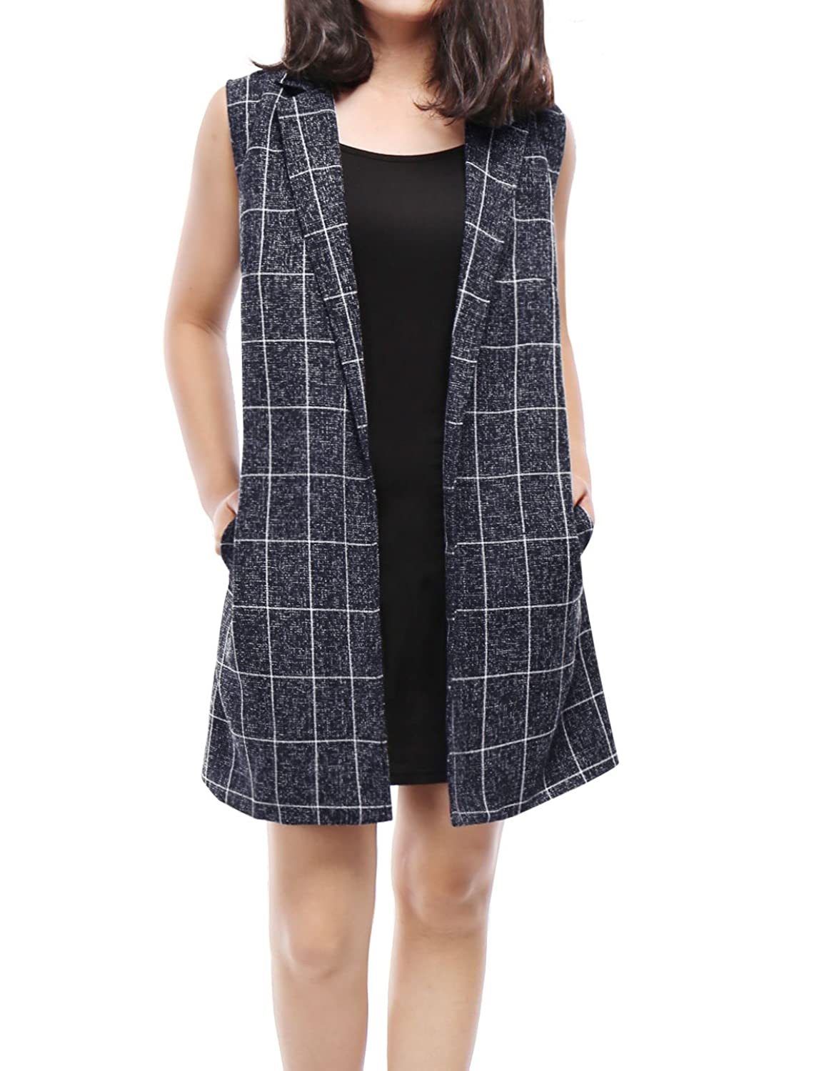 Allegra K Women Open Front Textured Plaids Long Vest