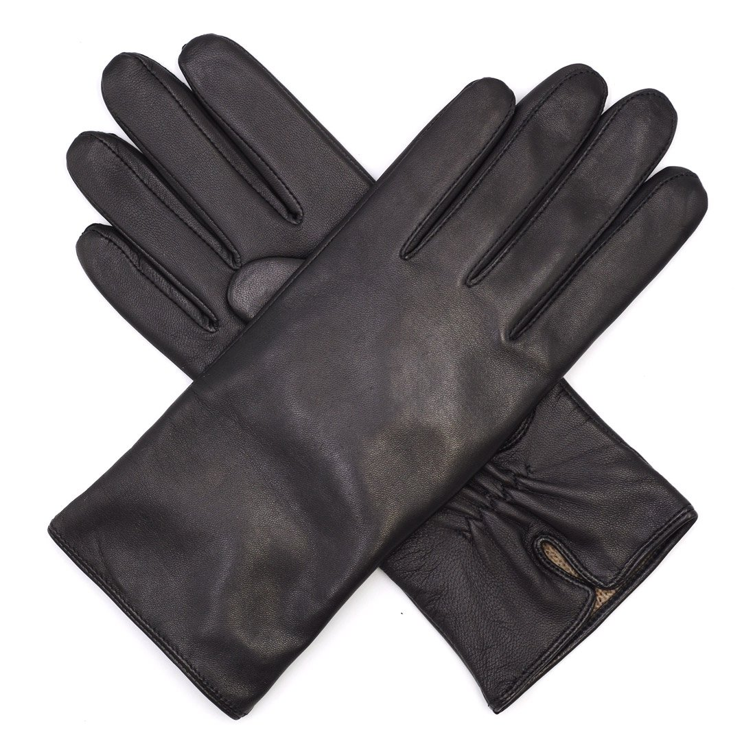 Harssidanzar Womens Luxury Italian Nappa Leather Gloves Vintage Finished Cashmere Lined