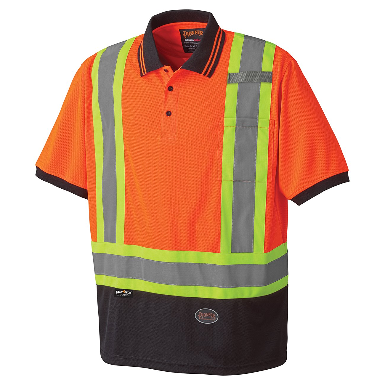 Pioneer V1051350-M Birdseye Safety Polo Shirt, Orange, Medium