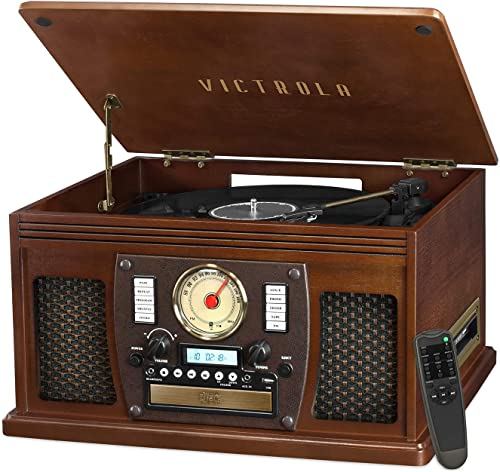 Victrola VTA-600B-ESP Navigator 8-In-1 Classic Bluetooth Record Player with USB Encoding and 3-Speed Turntable, Brown Espresso