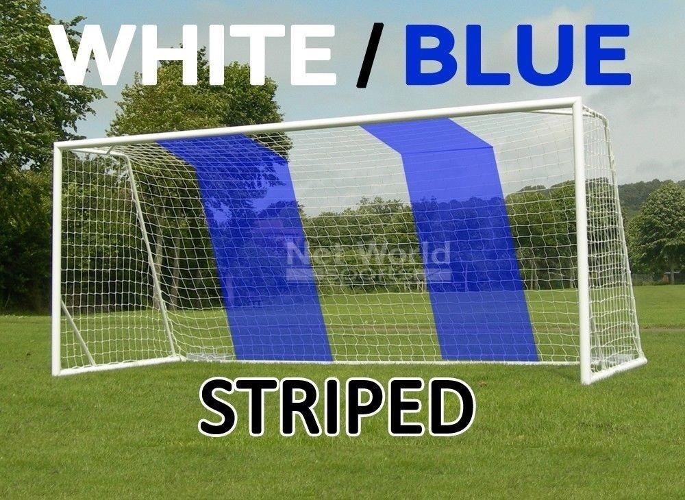STRIPED SOCCER GOAL NET - White/Blue - Official FULL SIZE FIFA Spec - 24x8 / 24' x 8' Net World Sports