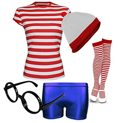 8ef5158af3 WOMENS GIRLS WHERES RED & WHITE WALLY STYLE TSHIRT HAT LADIES FANCY DRES  COSTUME(5PC<