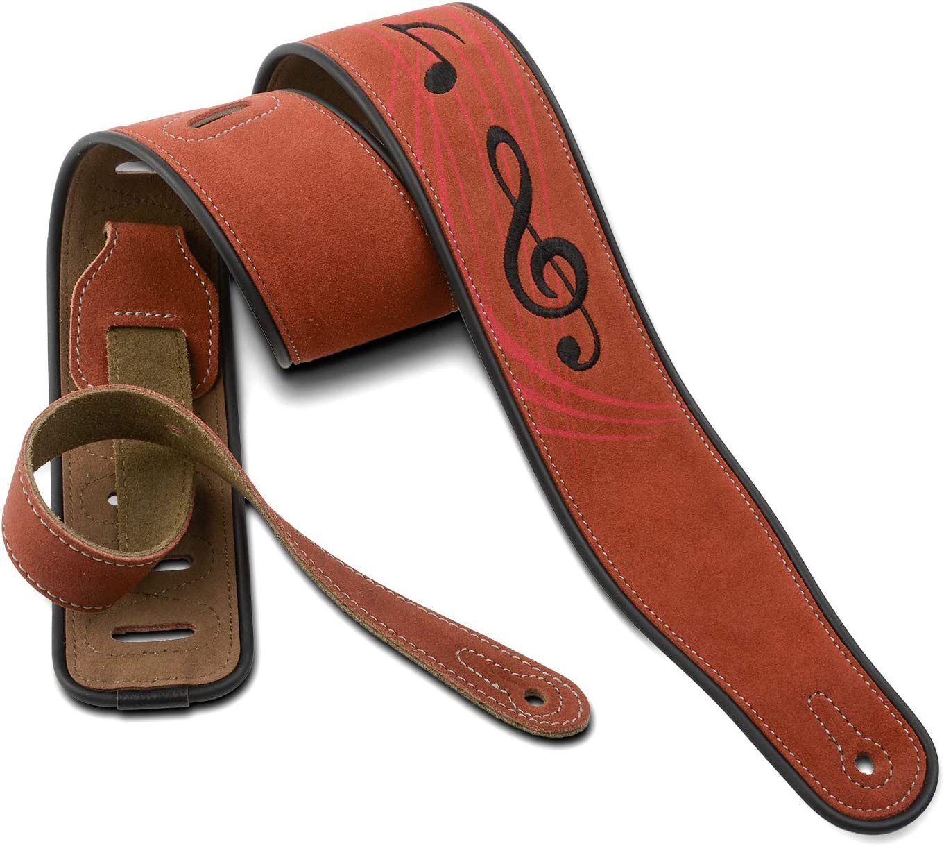 Dulphee Leather Guitar Strap, 2.8 Inches Width Suede Guitar Strap for Bass